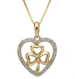 PENDANTS & NECKLACES SHANORE 10K HEART & SHAMROCK PENDANT with DIAMONDS