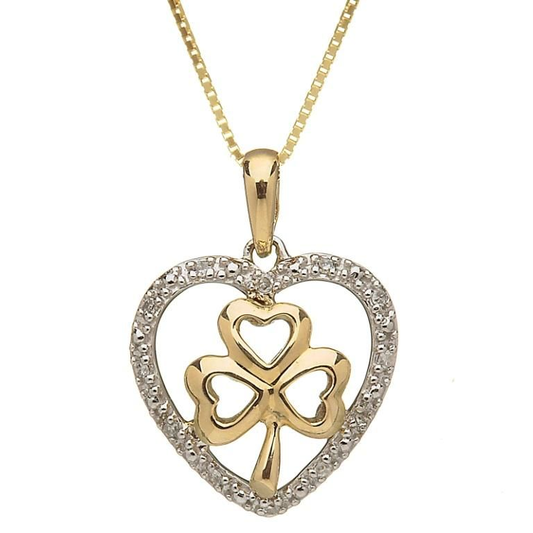 10k gold shamrock with diamond heart pendant irish crossroads pendants necklaces shanore 10k heart shamrock pendant with diamonds aloadofball Image collections