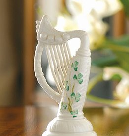 FRAMES & DECOR BELLEEK SHAMROCK HARP FIGURINE