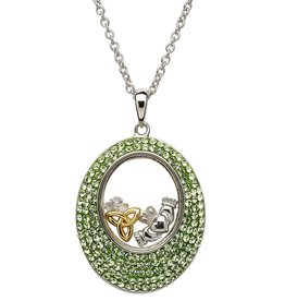 PENDANTS & NECKLACES STERLING SILVER OVAL PERIDOT PENDANT with SWAROVSKI CRYSTALS