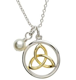 PENDANTS & NECKLACES PlatinumWare CELTIC TRINITY PEARL PENDANT