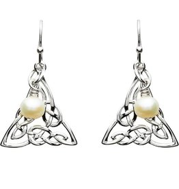 EARRINGS PlatinumWare CELTIC INTRICATE TRINITY EARRINGS WITH PEARL