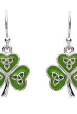 EARRINGS PlatinumWare GREEN ENAMEL TRINITY SHAMROCK EARRINGS