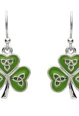 EARRINGS PlatinumWare GREEN ENAMEL TRINITY SHAMROCK EARRINGS