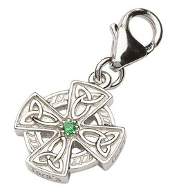 CHARMS SILVER & GREEN CZ CELTIC CROSS CHARM