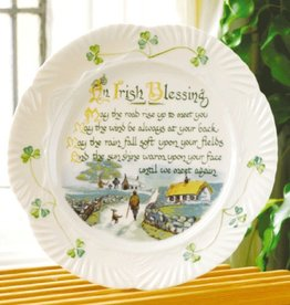 PLATES, TRAYS & DISHES BELLEEK HARP IRISH BLESSING PLATE