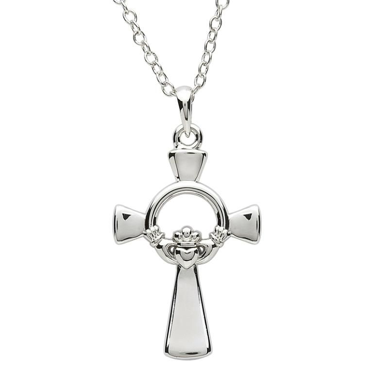 "CROSSES PlatinumWare LARGE CLADDAGH CELTIC CROSS WITH 20"" CHAIN"