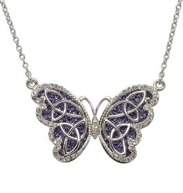 PENDANTS & NECKLACES STERLING SILVER TANZANITE CELTIC BUTTERFLY PENDANT with SWAROVSKI CRYSTALS