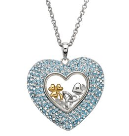 PENDANTS & NECKLACES SHANORE STERLING HEART AQUAMARINE PENDANT with SWAROVSKI CRYSTALS
