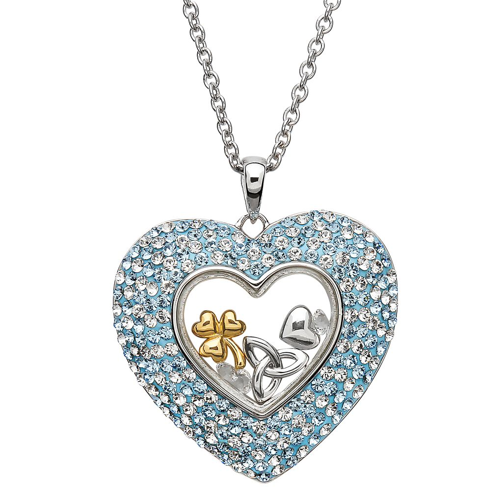 heart silver pendant aquamarine swarovski pendants aqua sterling crystals necklaces with marine aquamarin