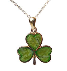 PENDANTS & NECKLACES FACET 10K & CONNEMARA SHAMROCK PENDANT