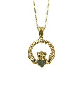 PENDANTS & NECKLACES 10K GOLD CLADDAGH PENDANT WITH CONNEMARA