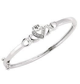 BRACELETS & BANGLES CLADDAGH STERLING BABY BANGLE WITH CZ HEART