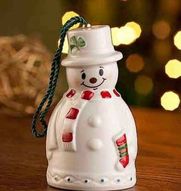 HOLIDAY BELLEEK SNOWMAN BELL STOCKING BELL ORNAMENT