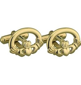 MENS JEWELRY GOLD PLATE CLADDAGH CUFFLINKS