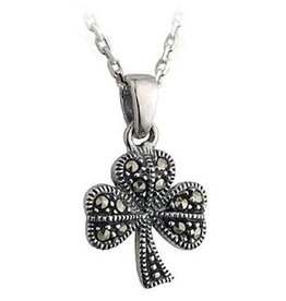 PENDANTS & NECKLACES SILVER MARCASITE SHAMROCK PENDANT