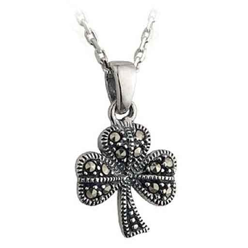 Pendants necklaces silver marcasite shamrock pendant irish pendants necklaces silver marcasite shamrock pendant aloadofball Images