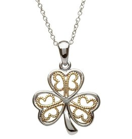 PENDANTS & NECKLACES CLEARANCE - SHANORE STERLING & GP FILIGREE SHAMROCK PENDANT - FINAL SALE
