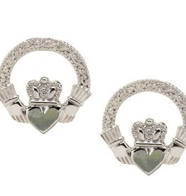 EARRINGS STERLING SILVER & CONNEMARA CLADDAGH EARRINGS