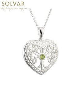 PENDANTS & NECKLACES SOLVAR STERLING with STONE TREE OF LIFE HEART PENDANT