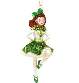 ORNAMENTS IRISH DANCING GIRL GLASS ORNAMENT