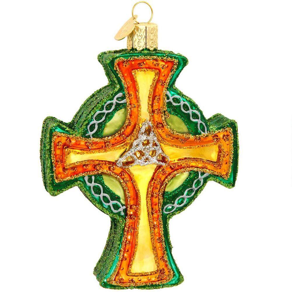 IRISH TRINITY CROSS GLASS ORNAMENT