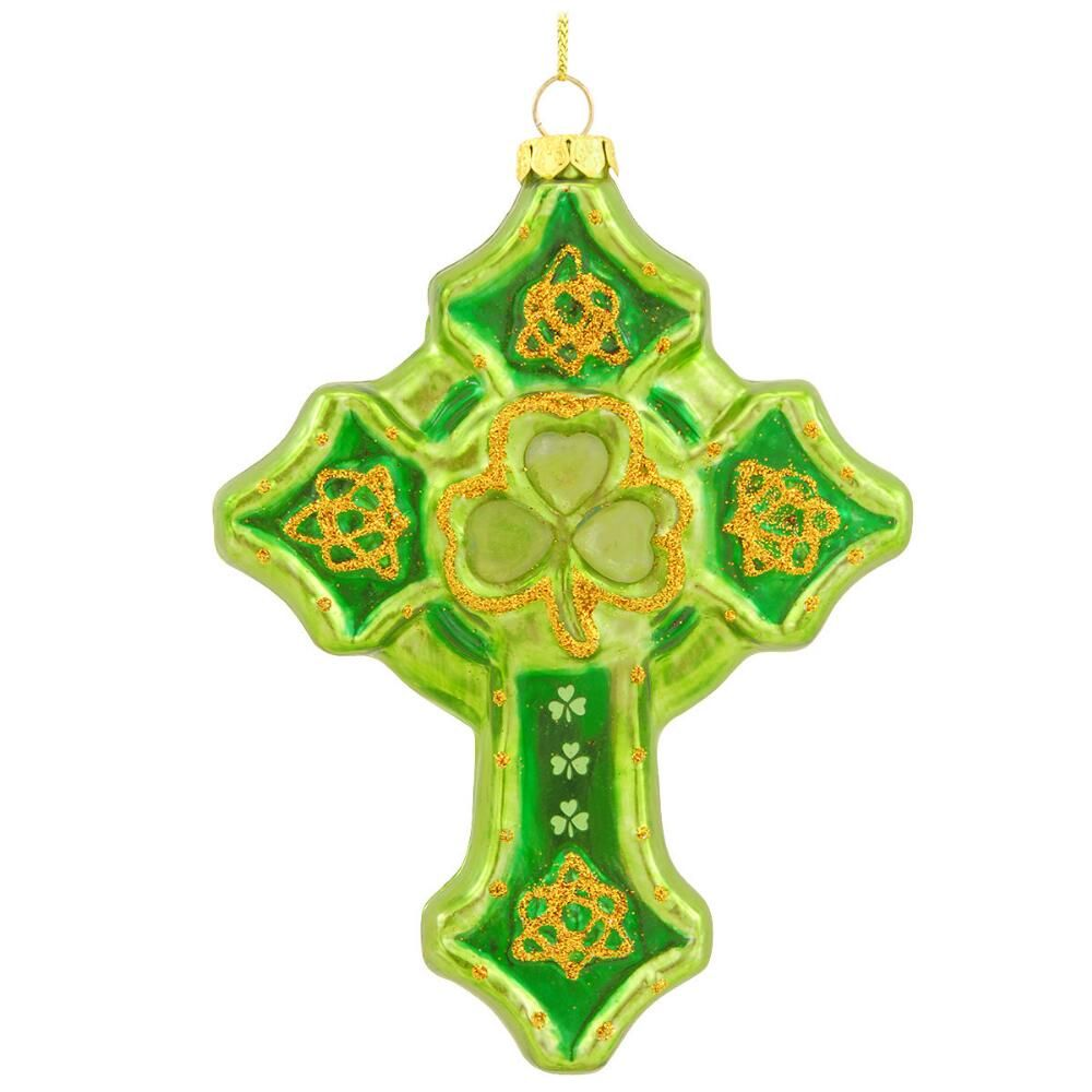 ORNAMENTS IRISH CROSS GLASS ORNAMENT