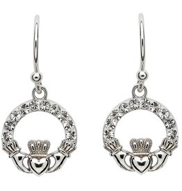 EARRINGS STERLING SILVER CLADDAGH EARRINGS adorned with SWAROVSKI CRYSTALS