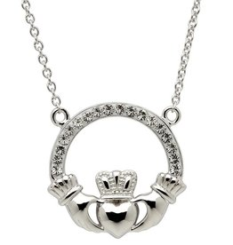 PENDANTS & NECKLACES STERLING SILVER CLADDAGH PENDANT adorned with SWAROVSKI CRYSTALS