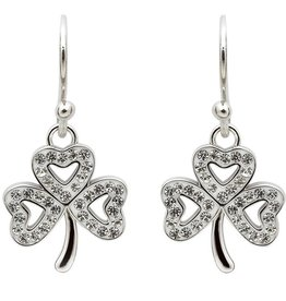 EARRINGS STERLING SILVER SHAMROCK EARRINGS adorned with SWAROVSKI CRYSTALS