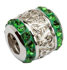 BEADS TARA'S DIARY GREEN TRINITY BARREL BEAD with SWAROVSKI CRYSTALS