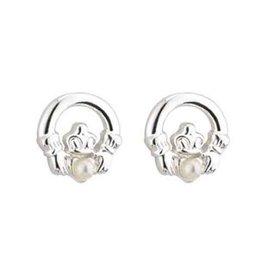 EARRINGS LITTLE TARA PLATED CLADDAGH EARRINGS with GLASS PEARLS