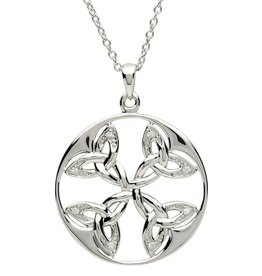 PENDANTS & NECKLACES CLEARANCE - SHANORE CELTIC CIRCLE TRINITY STERLING with CZ PENDANT - FINAL SALE