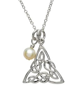 PENDANTS & NECKLACES PlatinumWare CELTIC INTRICATE TRINITY PENDANT WITH PEARL