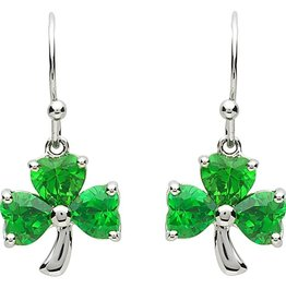 EARRINGS PlatinumWare GREEN CZ SHAMROCK EARRINGS