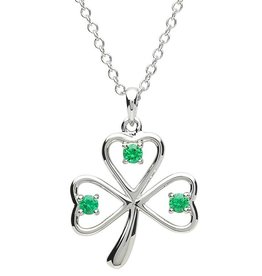 PENDANTS & NECKLACES PlatinumWare GREEN CZ OPEN SHAMROCK PENDANT