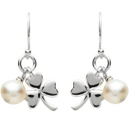 EARRINGS PlatinumWare SHAMROCK & PEARL EARRINGS