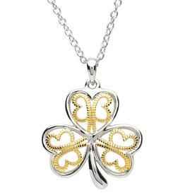 PENDANTS & NECKLACES PlatinumWare GOLD PLATE FILIGREE SHAMROCK PENDANT