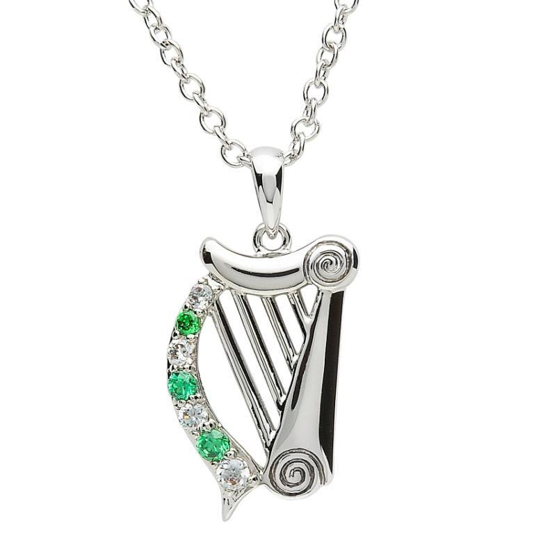 Pendants necklaces platinumware stone set harp pendant irish pendants necklaces platinumware stone set harp pendant aloadofball Gallery