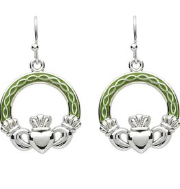 EARRINGS PlatinumWare GREEN ENAMEL CLADDAGH CELTIC EARRINGS