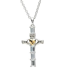 CROSSES PlatinumWare CZ STONE SET CLADDAGH CROSS