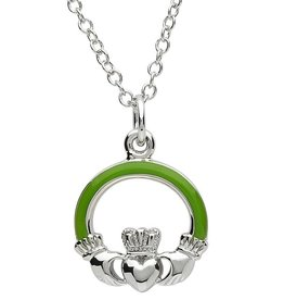PENDANTS & NECKLACES PlatinumWare GREEN ENAMEL SMALL CLADDAGH PENDANT