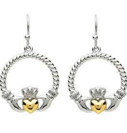 EARRINGS PlatinumWare CLADDAGH EARRINGS WITH TWIST HEART