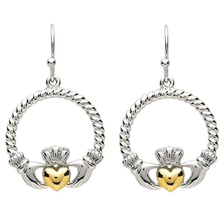 Earrings Platinumware Claddagh With Twist Heart