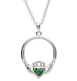 PENDANTS & NECKLACES PlatinumWare GREEN STONE SET CLADDAGH PENDANT