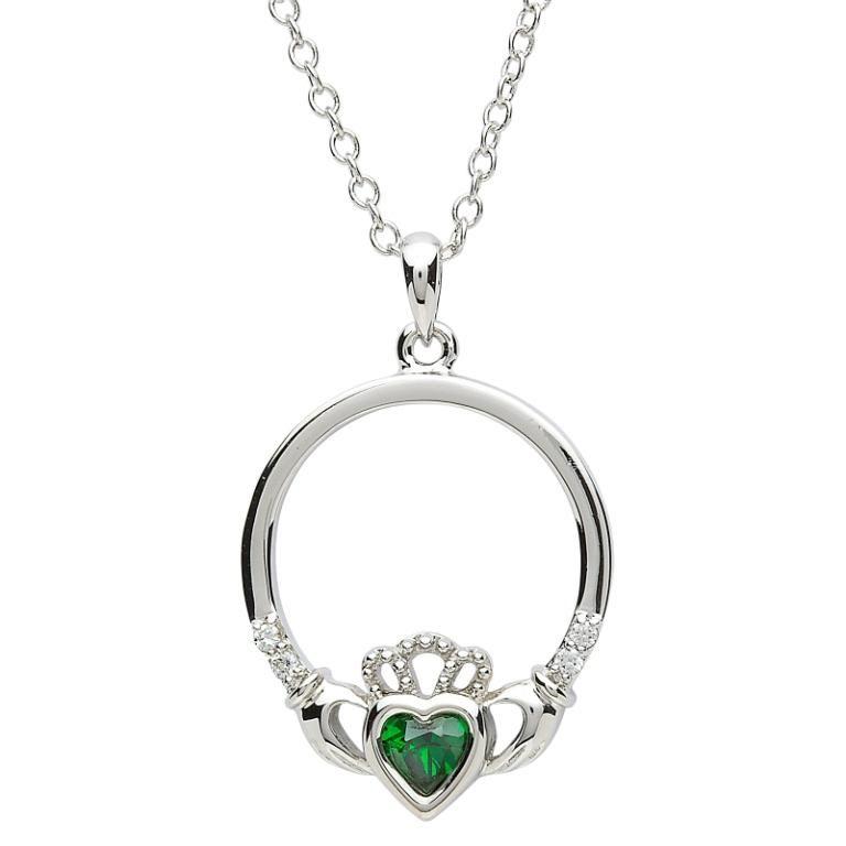 Pendants necklaces platinumware green stone set claddagh pendant pendants necklaces platinumware green stone set claddagh pendant aloadofball Images