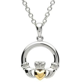 PENDANTS & NECKLACES PlatinumWare CLADDAGH PENDANT WITH GOLD PLATED HEART