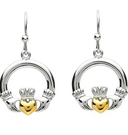EARRINGS PlatinumWare SMALL CLADDAGH EARRINGS WITH GOLD PLATED HEART
