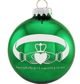ORNAMENTS GREEN GLASS CLADDAGH ORNAMENT