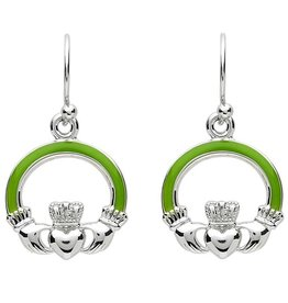 EARRINGS PlatinumWare GREEN ENAMEL SMALL CLADDAGH EARRINGS